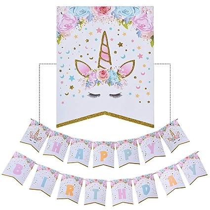 Amazon.com: Bandera de unicornio de cumpleaños – Bandera de ...