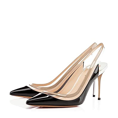 cf089428154 Nancy Jayjii NJPU Pointed Toe Women Pumps Transparent Slingback High Heel  Sandals for Cocktail Party Black