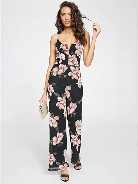 06dffe44ce1e G By Guess Annaleigh Floral Chiffon Jumpsuit  Amazon.ca  Clothing    Accessories