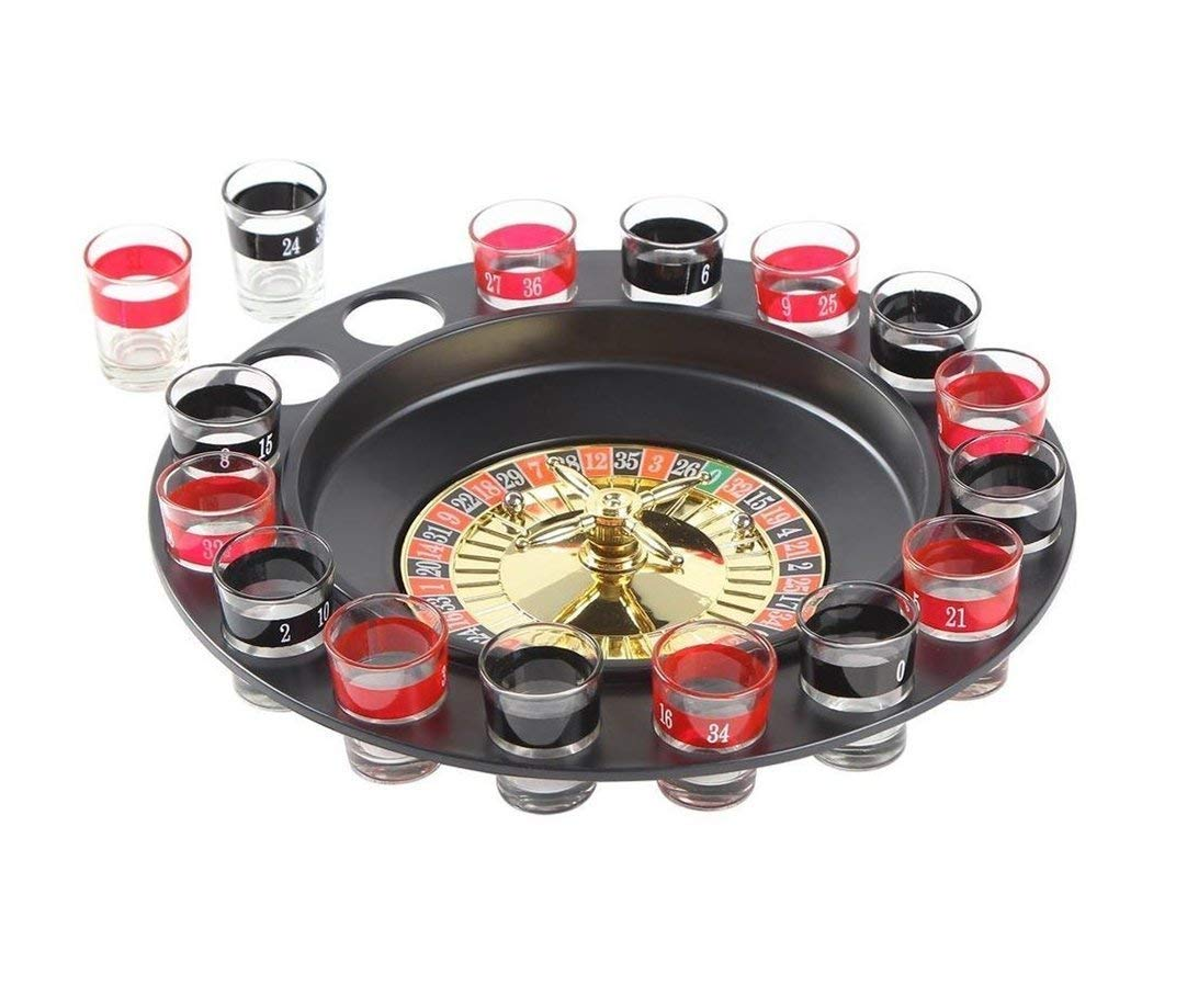 Ohuhu 6958446334972 Shot Spinning Drinking Roulette Game Set (2 Balls and 16 Glasses), Black