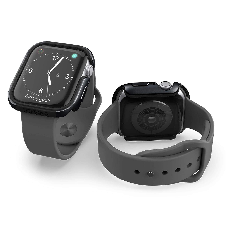 X-Doria Defense Edge, 44mm Apple Watch Case - Premium Aluminum & TPU Bumper Frame, Compatible with Apple Watch Series 4 & Series 5, (Black/Black) by X-Doria