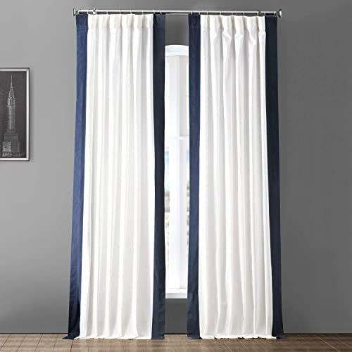 HPD Half Price Drapes PRCT-VC1713-108 Vertical Colorblock Panama Curtain 1 Panel , 50 X 108, Fresh Popcorn and Polo Navy