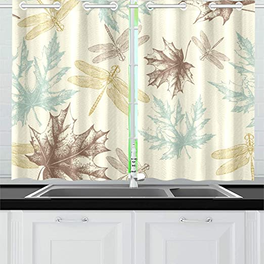 Yumoing Autumn Maple Leaves Dragonfly Kitchen Curtains Window Curtain Tiers For Café Bath Laundry Living Room Bedroom 26 X 39 Inch 2 Pieces Home Kitchen