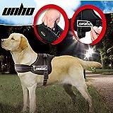 UNHO No Pull Harness Dog Lead Padded Pet Walking Harness Heavy Duty for German Shepherd Doberman Pitbull Chest 70-90cm Black L