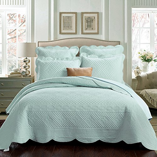 Calla Angel SV-10BA-34IW Sage Garden Luxury Pure Cotton Quilt,Light Aqua,Queen