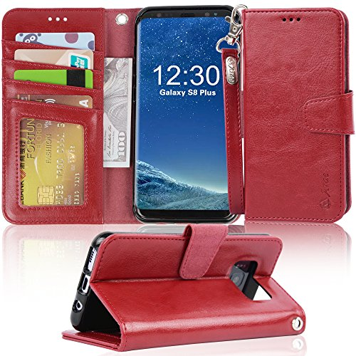 Galaxy s8 plus Case, Arae [Wrist Strap] Flip Folio [Kickstand Feature] PU leather wallet case with ID&Credit Card Pockets For Samsung Galaxy s8 plus(NOT for galaxy s8) (winered) by Arae