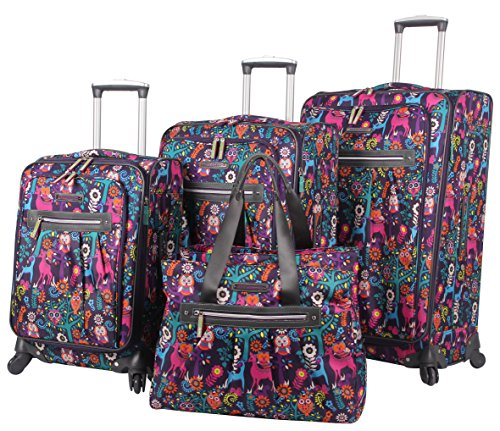 (Lily Bloom Luggage Set 4 Piece Suitcase Collection With Spinner Wheels For Woman (Wildwoods))