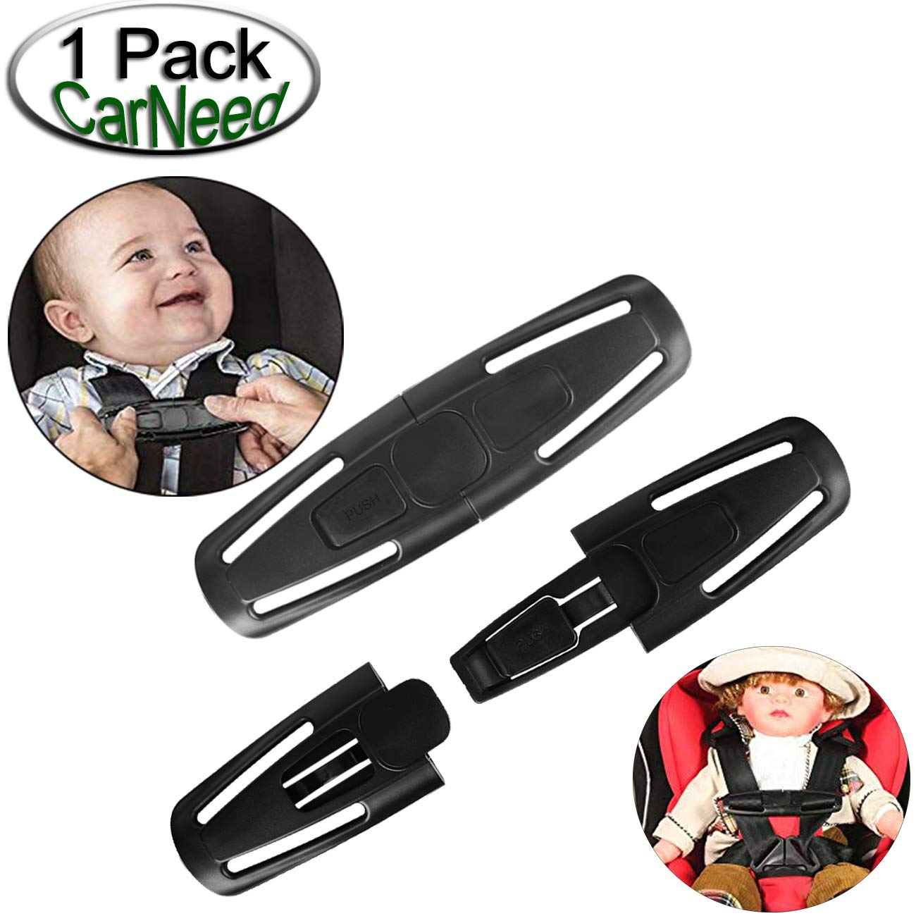 CarNeed 2 Pack Baby Chest Harness Clip, Universal Seat Chest Clip Guard, Black Lock Tite Stroller Chest Clip with 2 Pack Red Car Seat Belt Clip Buckle for Baby HeDou