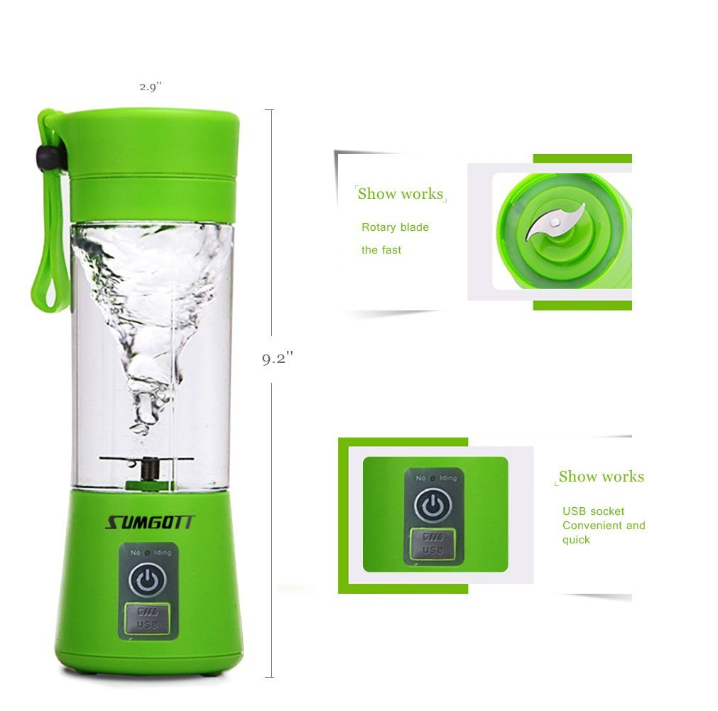 Portable Blender USB Juicer Cup - SUMGOTT Juicer Machine with USB Charger Fruit Mixing Machine Personal Size Rechargeable Juice Blender and Mixer by SUMGOTT (Image #3)