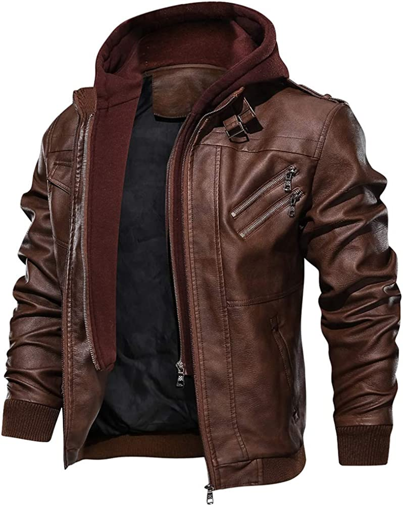 FEDTOSING Mens Faux Leather Bomber Jacket with Removable Hood Biker Windbreaker Coat Slim Fit Moto Jake