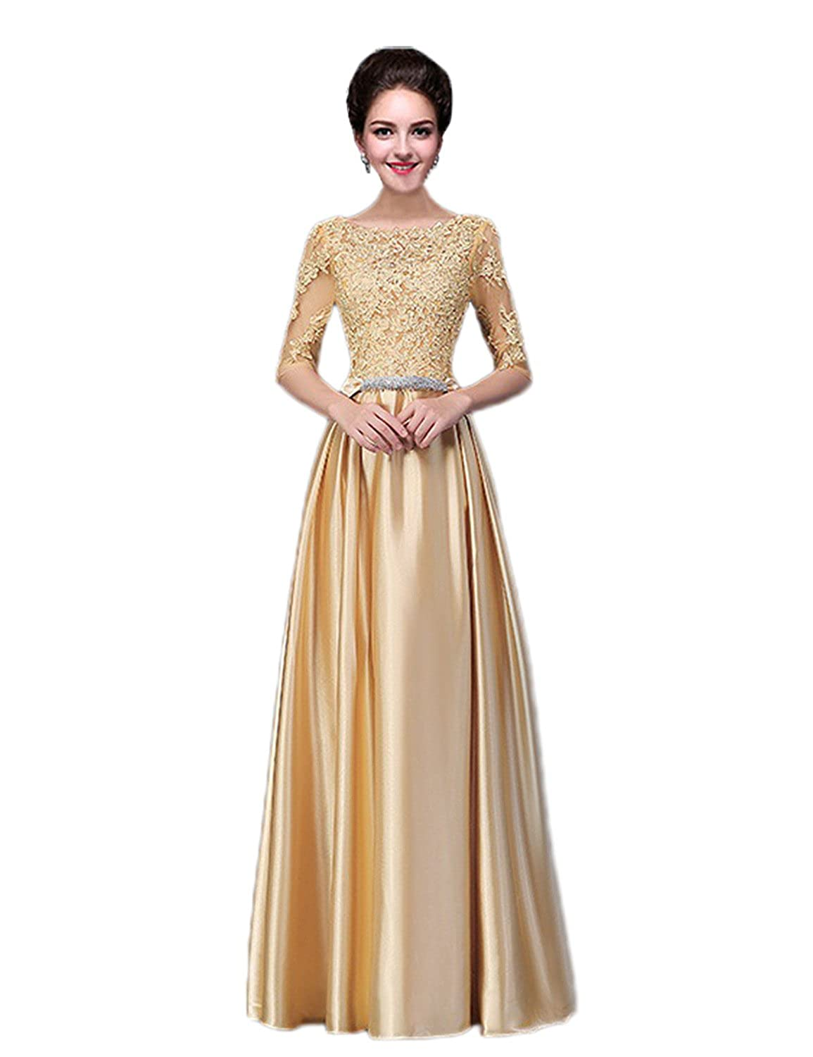 Vimans Womens Long Sleeves Gold Bridal Reception Dress For Wedding