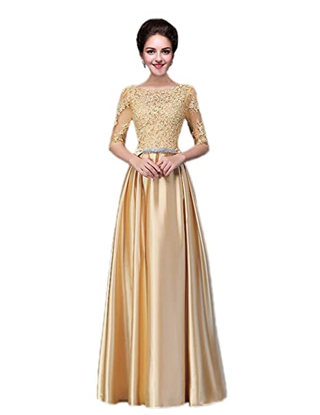 cfe3f3cf26 Vimans Womens Long Sleeves Gold Bridal Reception Dress for Wedding Guest