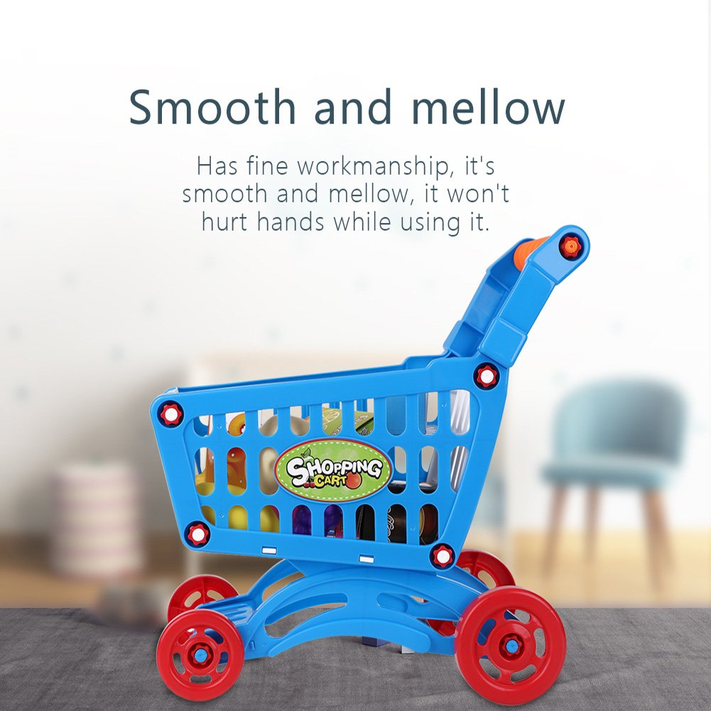 Kids Shopping Cart Precious Toys Kids Toddlers Pretend Role Play Food Fruits Playing Game with Groceries(Blue with Food) by Fdit (Image #6)