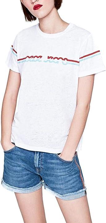 Pepe Jeans Camiseta Lola Blanco Mujer: Amazon.es: Ropa y ...