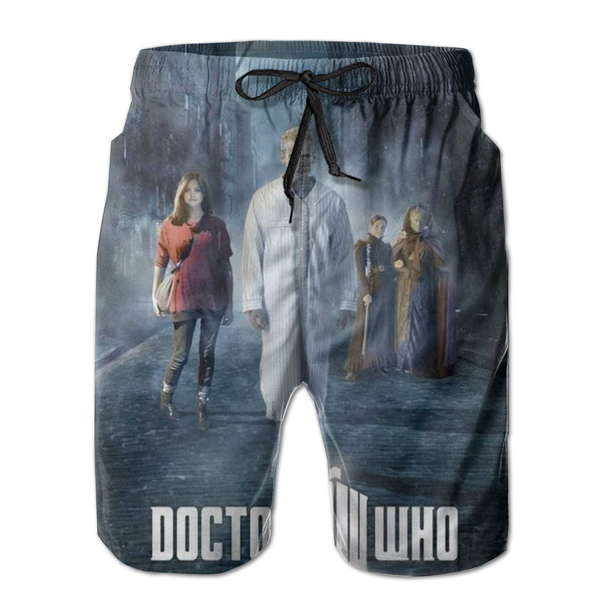 Mens Beach Shorts Doctor-Who-Eleventh-Doctor-Clara-Oswald Impossible Fan Art