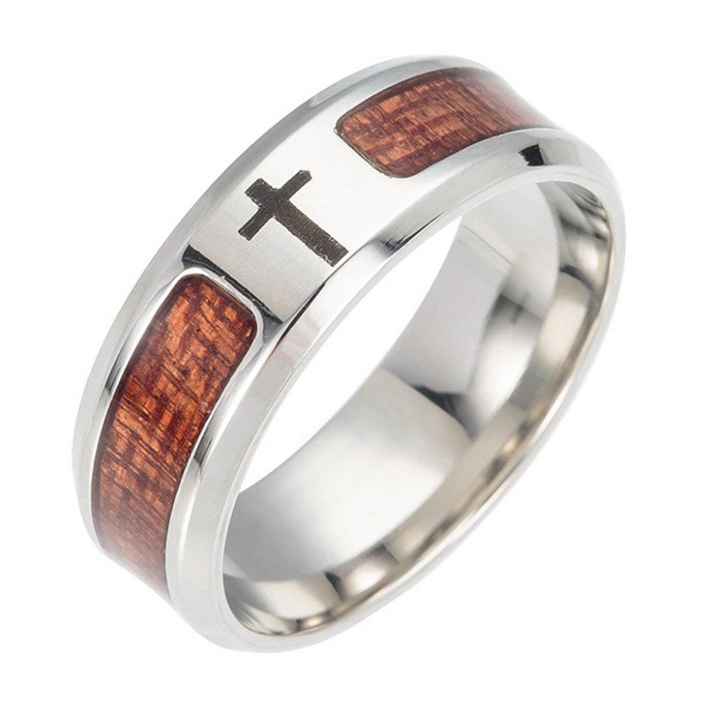 Ameesi Unisex Wood Inlaid Stainless Steel Tree of Life Cross Finger Ring Jewelry Gift