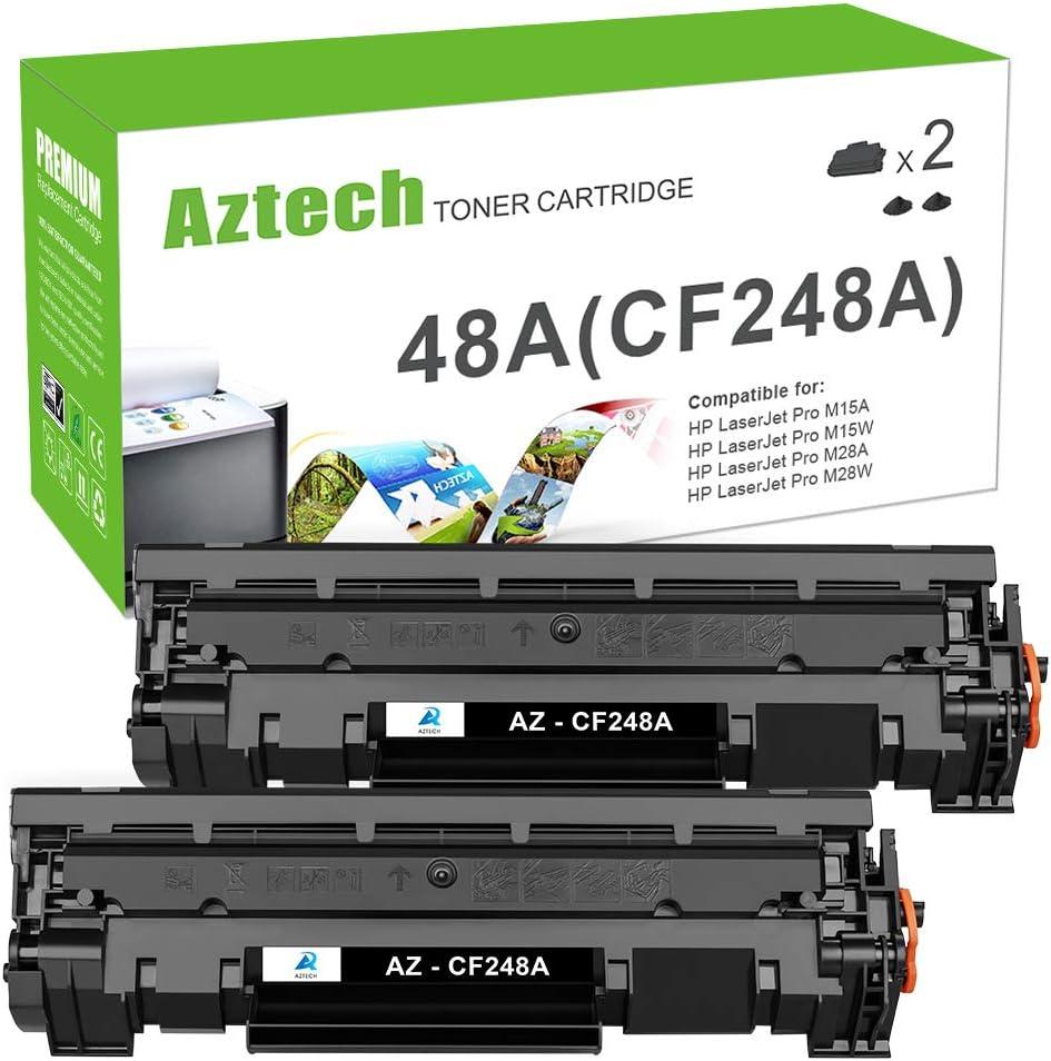 Aztech Compatible Toner Cartridge Replacement for HP 48A CF248A Pro M15w M15a for HP Laserjet Pro M15w M15a M16a M16w Laserjet MFP M29w M28w M29a M28a (Black, 2-Pack)