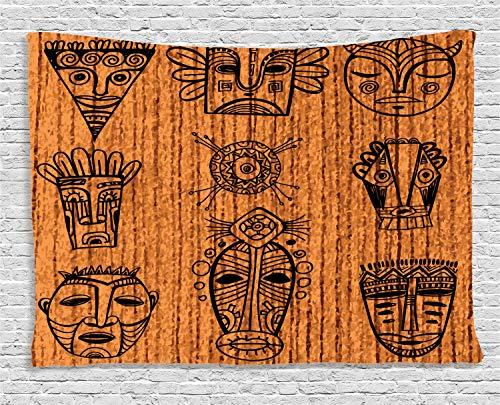 Ambesonne African Tapestry, Ceremonial Native Illustration Cultural Masks Art Print, Wide Wall Hanging for Bedroom Living Room Dorm, 80