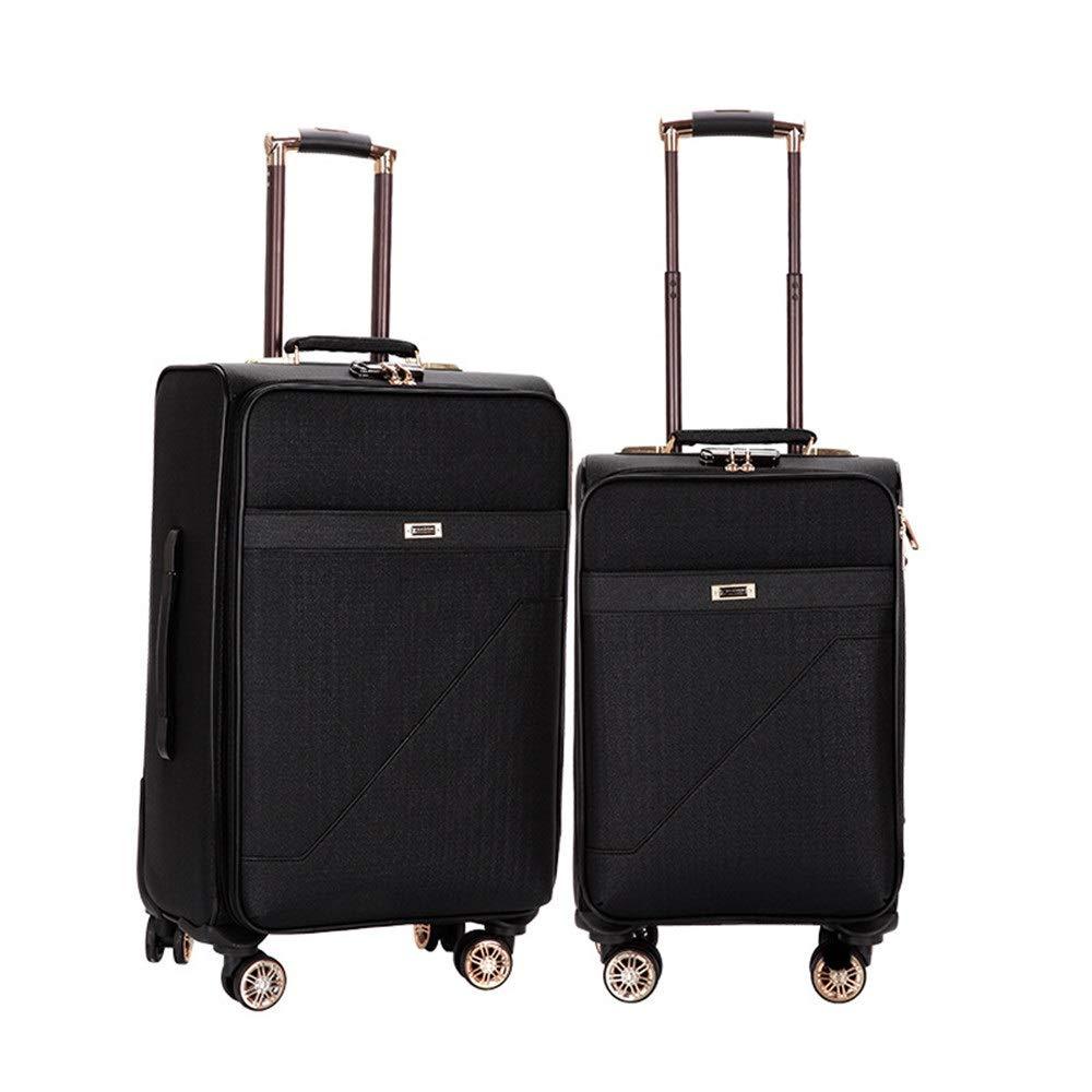 旅行スーツケース、 20インチ24インチ拡張可能なアップライト荷物2ピース入れ子セットキャリーオンソフトサイドスーツケースソフトシェル軽量360°サイレントスピナー多方向ホイール(旅行用飛行機のフライトとチェックイン) (色 : ブラック, サイズ : 20in+24in) B07V2F4Z64 ブラック 20in+24in