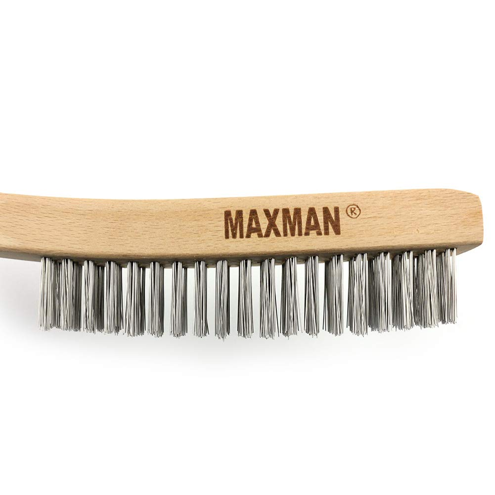 MAXMAN 14 Wire Scratch Brush,Stainless Steel Wire Brush for Cleaning Rust with Curved Wood Handle