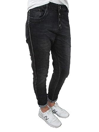 324bdfe10f85 Karostar Stretch Baggy Boyfriend Jeans Pailletten Seitenstreifen (M-38,  Schwarz)