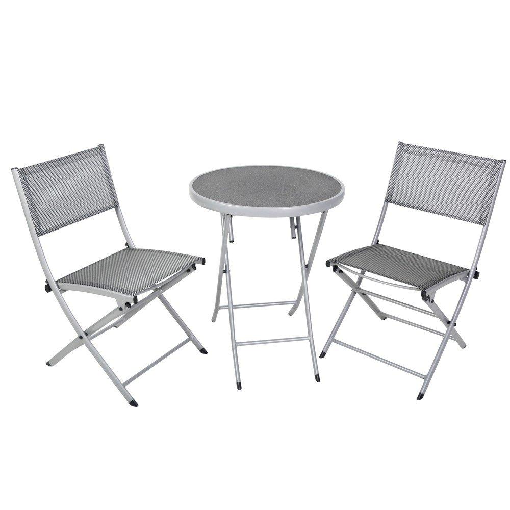 greemotion Balkon-Set 120274, bestehend aus 2 x Stuhl und 1 x Tisch, alle Teile der Sitzgruppe lassen sich zusammenklappen, Balkonsitzgruppe mit Aluminiumgestell und 4x4 Textilene, Gartentisch mit Sicherheitsglasplatte, Maße des Tisches: ca Ø60 x H 71 cm, Maße der Stühle: ca. 52 x 46 x 81 cm
