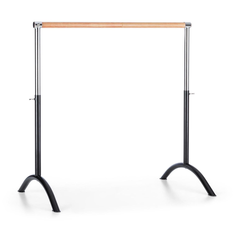 Klarfit Bar Lerina Sbarra Danza Classica Mobile Portatile in Acciaio (110 x 113 cm, Altezza Regolabile, struttura libera, diametro 38 mm) nero