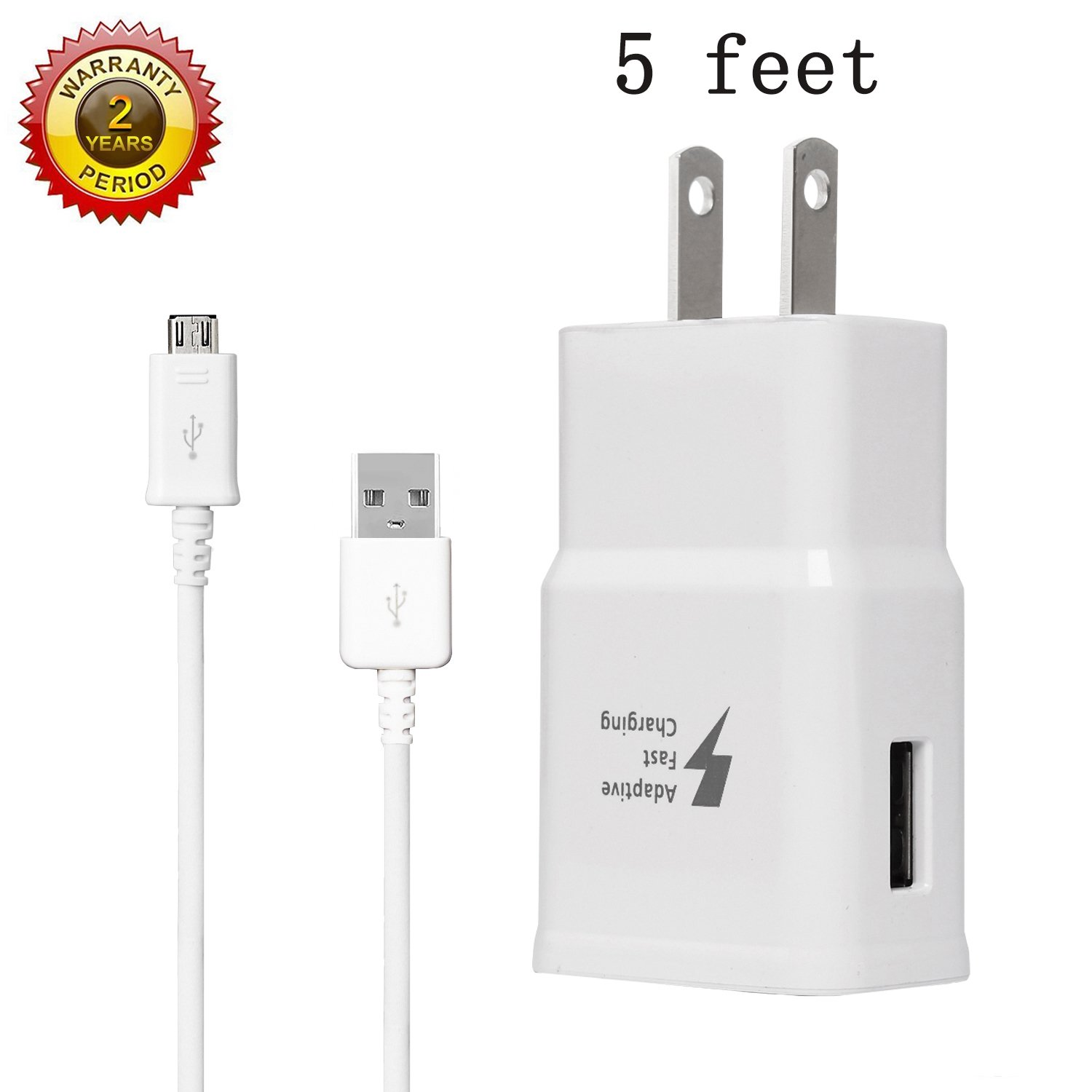 MBLAI Fast Charge Adaptive Fast Charger Kit for Samsung Galaxy S7/S7 Edge/S6/Note5/4 /S3,MBLAI USB 2.0 Fast Charging Kit True Digital Adaptive Fast Charging (Wall Charger + Micro USB Cable) by MBLAI (Image #1)