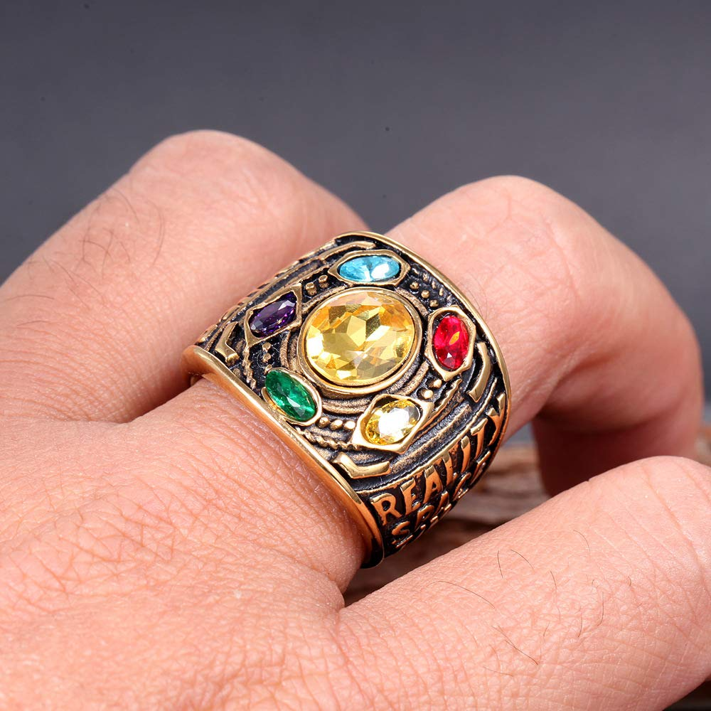 MCSAYS Hip Hop Unisex Jewelry Colored Rhinestones Ring Titanium Stainless-Steel Rings
