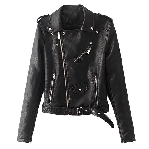 Zhuhaitf Women's Cómodo y hermoso PU Leather Jacket Slim Biker Motorcycle Winter Zipper Coats Warm M...