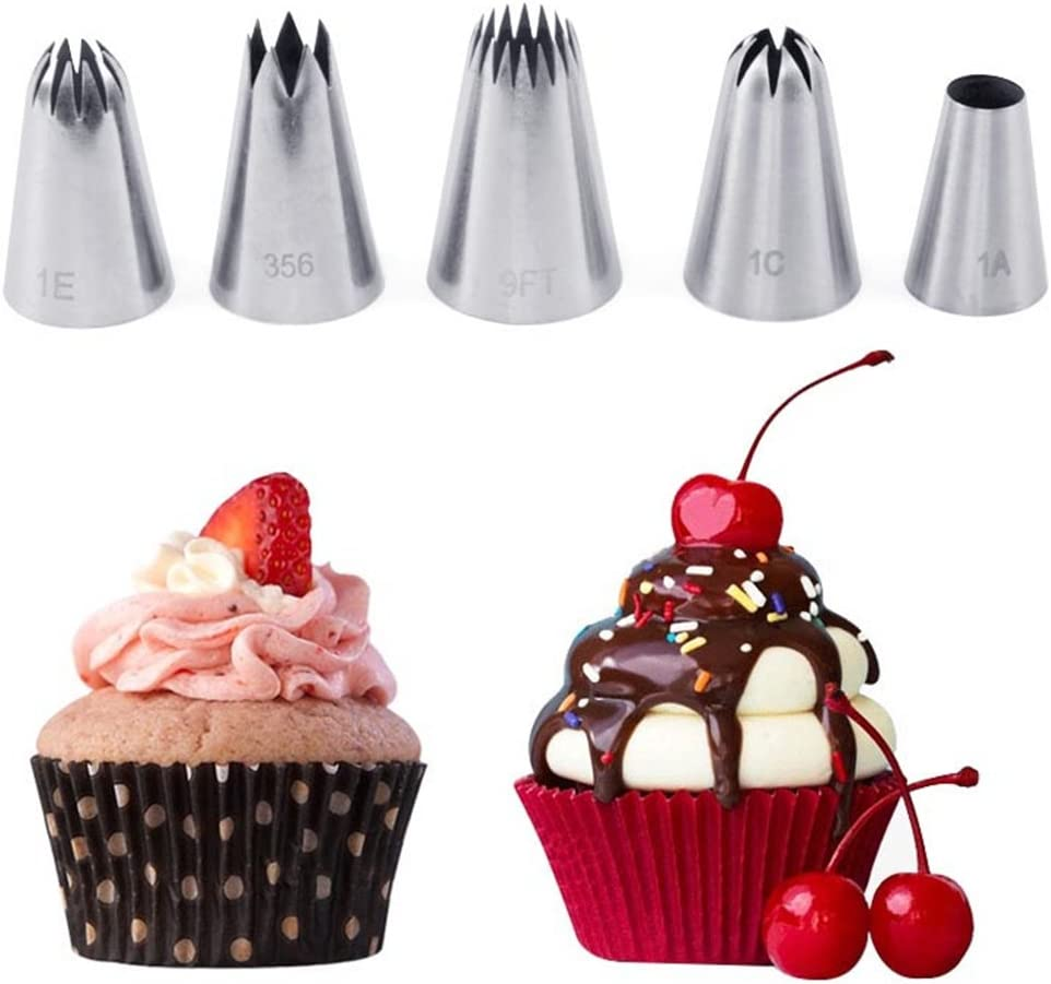 CHAWHO 5 Pieces Cake Decorating Set Piping Nozzles Stainless Steel Modeling Tools for Baking Cupcakes Cookies and Pastry Dessert DIY