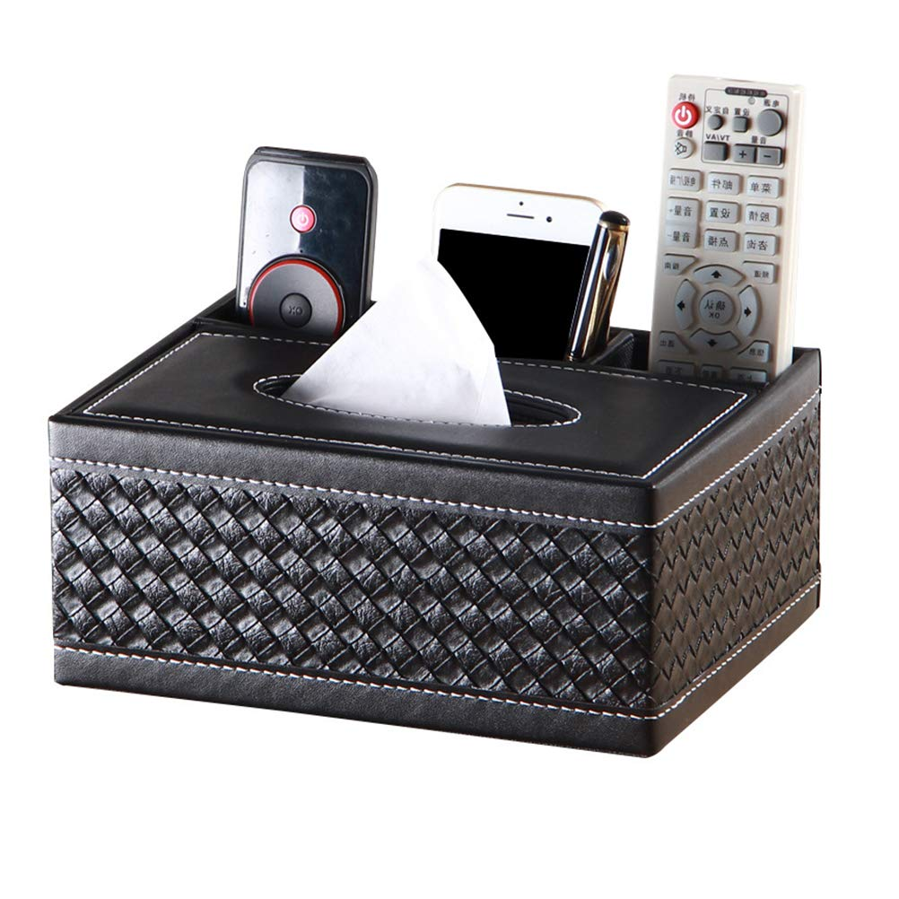 Mallalah Napkin Box Tissue Box Holder Rectangular Simple Style PU Leather TV Remote Controller Holder Desktop Storage Boxes Remote Control Holder for Home Office