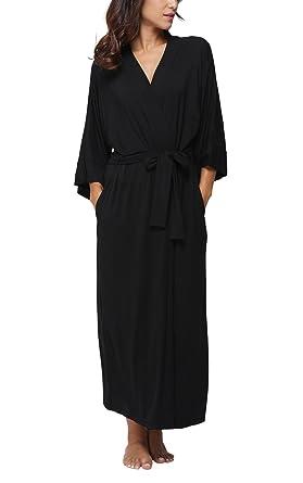 FADSHOW Women s Soft Long Sleepwear Modal Cotton Wrap Robe Bathrobe  Nightgown Black 8e641e50a