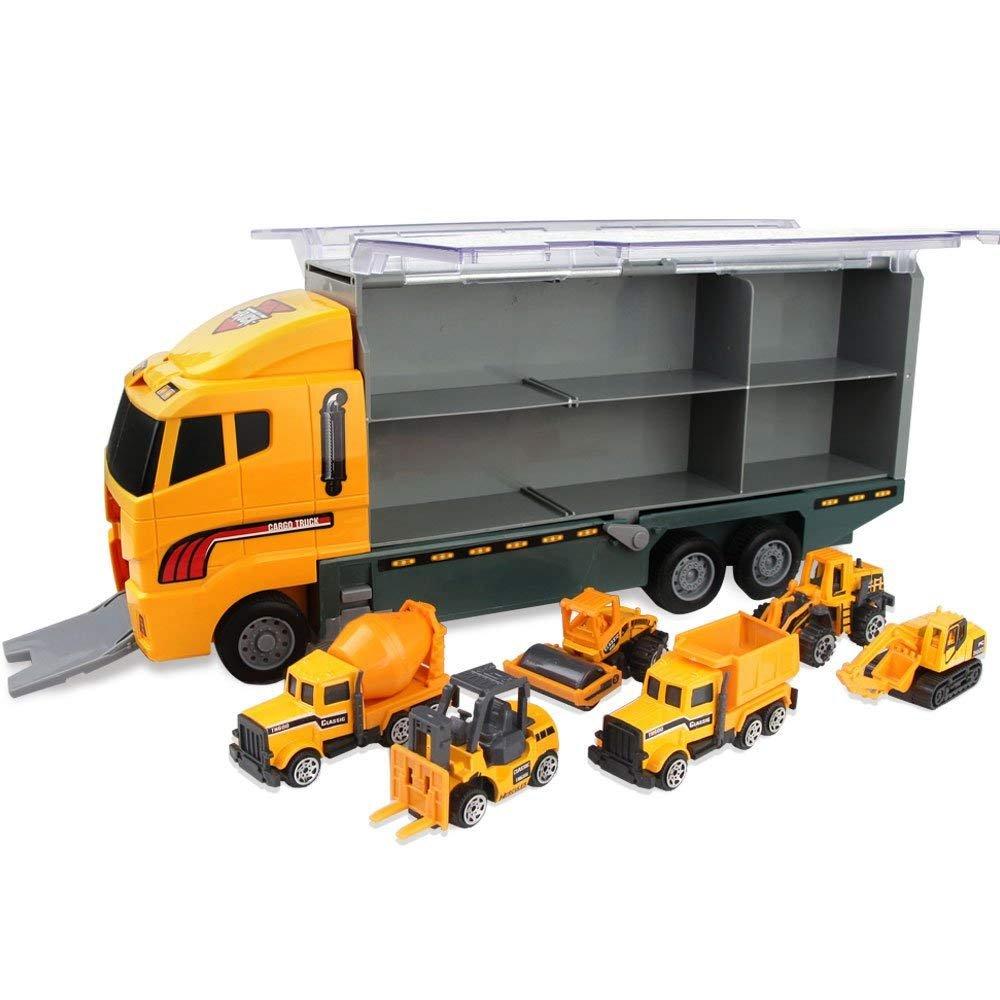 7 in 1 Jenilily Construction Truck Vehicle Container Car Toy Set Trucks Excavator Cement Truck Dumper Bulldozer Forklift Road Roller for Children Kids