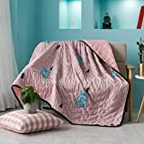"""KFZ Comforter Set No Pillow Covers ZY 3 Size Washed Cotton Comforter Black Sewing Edge Cartoon Animals Design For Teens, Kids, Adults One Piece (Nice Deer, Pink, Full,70""""x78"""")"""