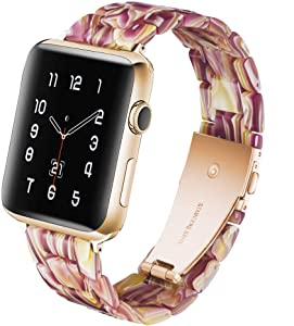 CAUNEDY Resin Watch Band for 42mm 44mm Apple Watch Series 5 4 3 2 1 with Stainless Steel Buckles Fashion Lightweight Sport Smart Watch Wristband Strap for Men Women(42/44mm,Red Rose)
