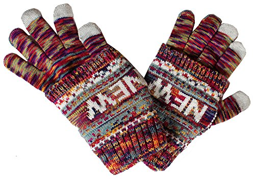 Robin Ruth New York Adult Winter Knitted Warm Gloves w/additional cover, Fuschia (Robin Adult Gloves)