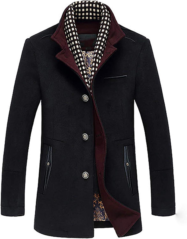 New Winter Men Splice Woolen Jacket Plus Thick Outerwear Mens Middle Long Jacket Coat Winter Warm Overcoat