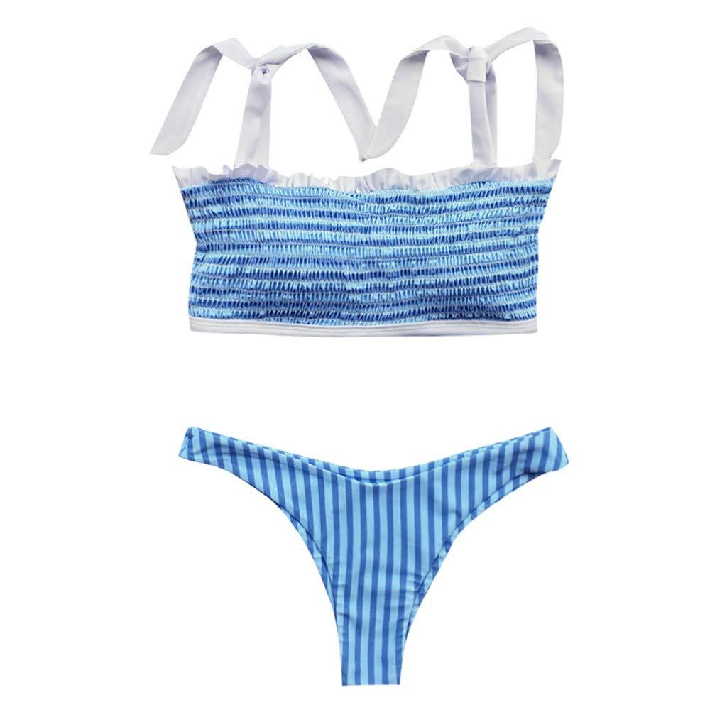 iLUGU Women Bikini Swimwear Solid Beachwear Push Up One Piece Swimsuit Bathing Suit