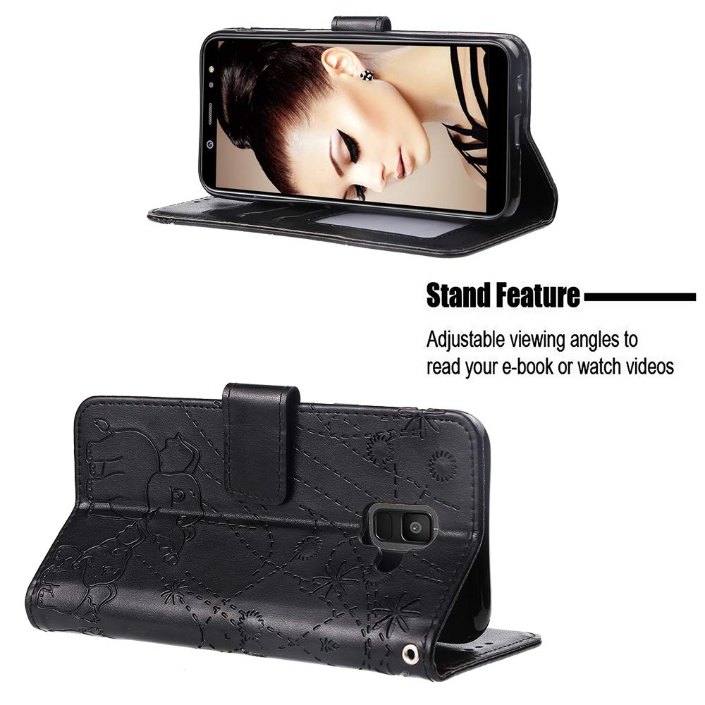 Yobby Case for Samsung Galaxy A6 2018,Premium PU Leather Wallet Case Embossed Elephant Print,Flip Cover with Kickstand Card Holder ID Slot and Hand Strap Shockproof Protective Cover-Black