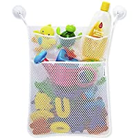 Toxz Baby Bath Time Toy Tidy Storage Hanging Bag Mesh Bag Mesh Bathroom Organiser Net,with Suction Caps,Polyester Material,Washable,Durable(Ship from US!)
