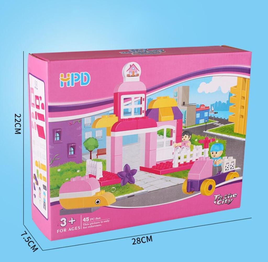 HJXJXJX Mädchen montiert Bausteine pädagogische Spielzeug Plastikmaterial Montage Szenische Szenische Szenische Häuser 45 große Granulat Bausteine f78784