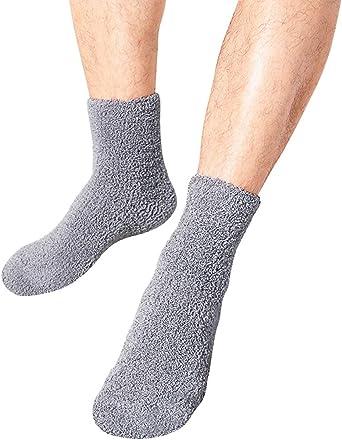 Leeofty Calcetines de Invierno para Hombre Antideslizantes Calcetines de Felpa Gruesos c/álidos Suaves a Media Pierna