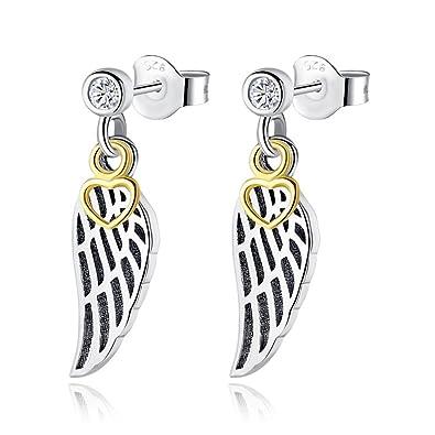 08e63f2c2 New Authentic 925 Sterling Silver Earrings Love & Guidance Heart Wing Drop  Earring Pan Crystal Golden Earings For Women fashion Jewelry: Amazon.co.uk:  ...