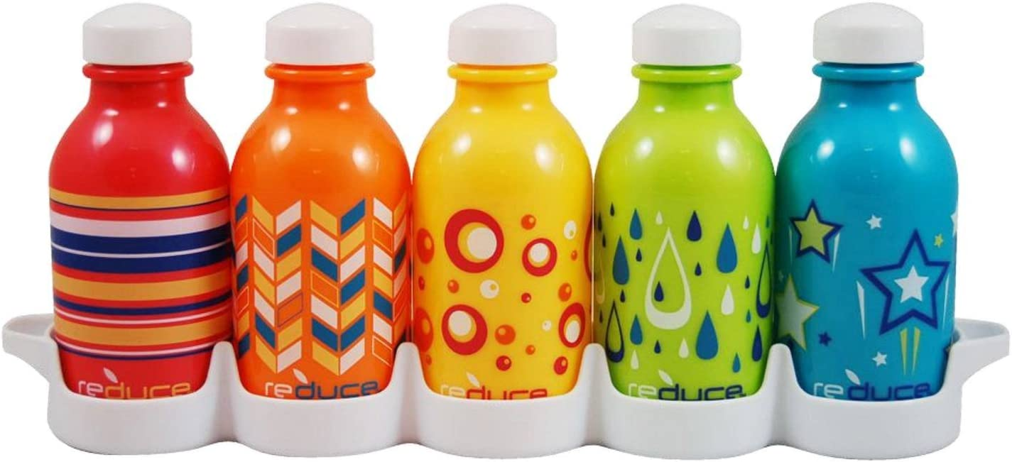 Reduce WaterWeek Classic Reusable Water Bottles, 10oz – Includes 5 Refillable Water Bottles Plus Bonus Fridge Tray For Your Water Bottle Set – Leak Proof Twist Off Cap – Perfect for Lunchboxes