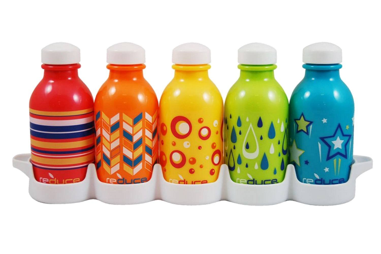 reduce WaterWeek Kids Reusable Water Bottle Set with Fridge Tray Organizer – 5 Pack, 10oz - BPA-free, Leak Proof Twist Off Cap – Assorted Colors - Perfect for Lunchboxes