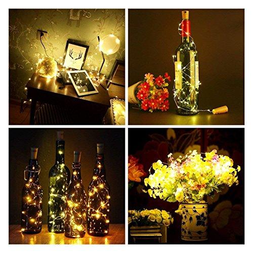 Tomshine Bottle Cork Lights Battery Operated 15 LED Fairy Lights Indoor Decorative, 75cm DIY Waterproof Wine Bottle Lights with Cork for Wedding, Halloween, Birthday