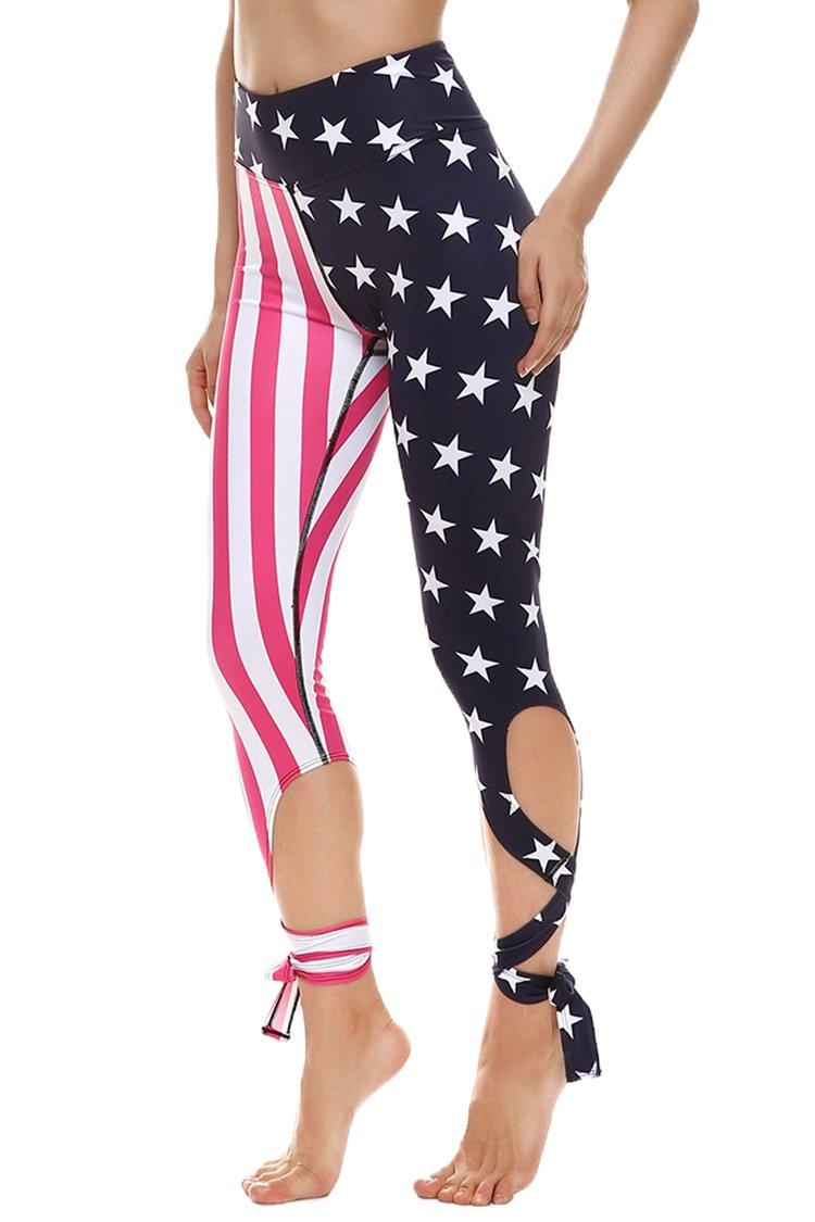 COOleggings Ladys US Flag Patterned Skinny Capri Tights Yoga Pants Rose Red S