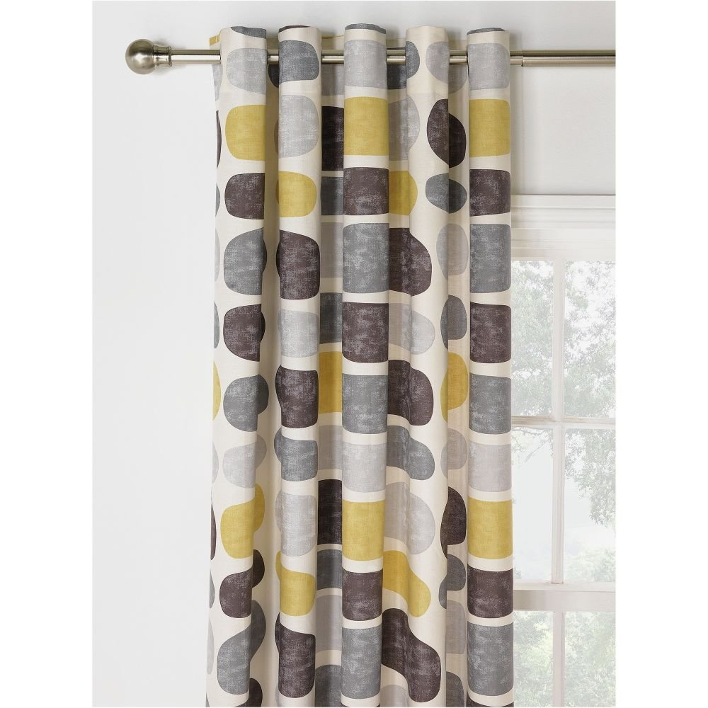 HOME Pebbles Unlined Eyelet Curtains 117x137cm Grey Yellow Amazoncouk Kitchen Home
