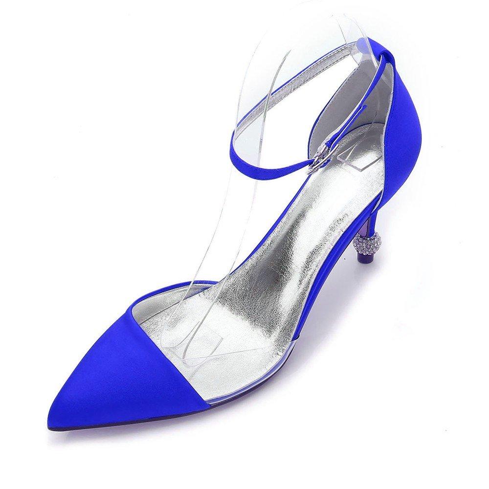 Zxstz Zapatos Cerrados Cerrados Cerrados de tacón Alto de tacón de Aguja de Las Mujeres Cerradas Zapatos de Boda Nupcial, Azul, 42 49458d